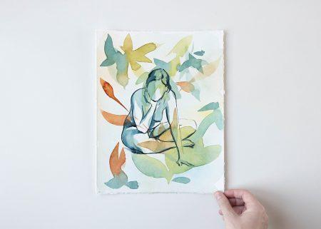 Foliage Shades original watercolor painting the Ninsar series