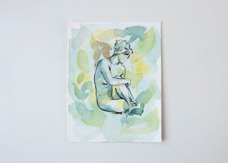 In Bloom original watercolor painting the Ninsar series