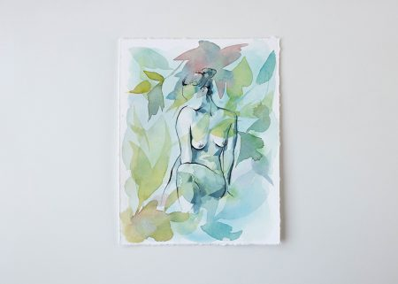 Swayed by the breeze original watercolor painting the Ninsar series