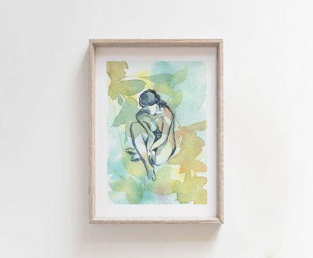 Pensamientos giclee art print mother nature figure art goddess nude woman