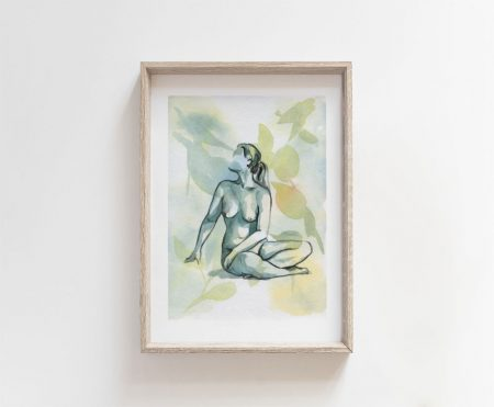 forest visions nude woman art print goddess nature watercolor painting