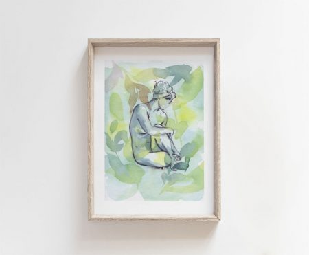 nude art naked woman watercolor painting giclee art print