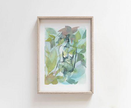 mother nature goddess giclee art print watercolor nude art