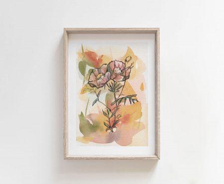 line drawing flowers watercolor