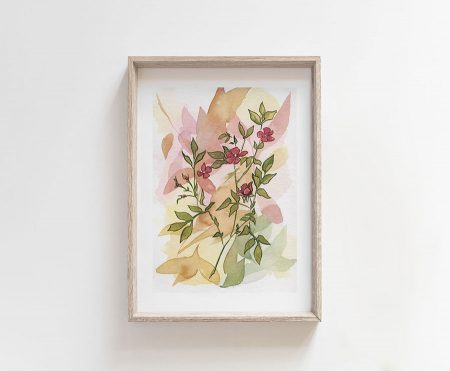 fucsia wild flowers watercolor painting