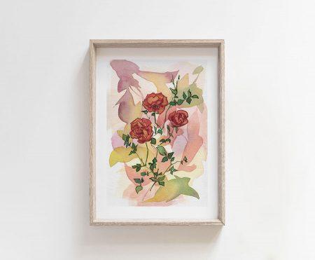 wild roses watercolor flowers