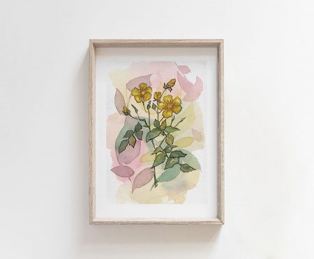 yellow flowers watercolor painting