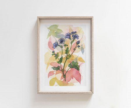 blue flowers in watercolor
