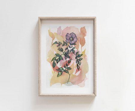 violet flower watercolor painting
